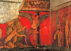 Dans la villa des Mystères, ces fresques au rouge vif caractéristique de Pompéi représentent des rites d'initiation au culte de Dionysos. (Eric Vandeville)