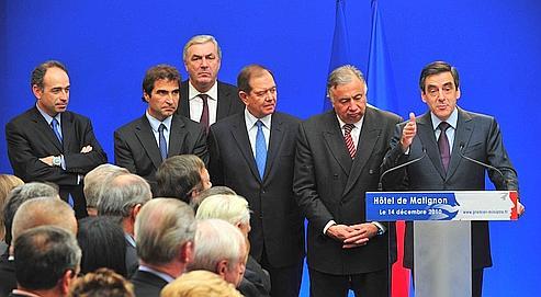 François Fillon, mardi, durant son discours alors qu'il recevait sénateurs et députés de la majorité à Matignon.