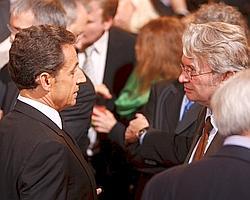 Nicolas Sarkozy avec Jean-Claude Mailly (FO) lors des voeux.