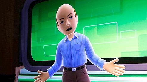 L'avatar de Steve Ballmer lors d'une démonstation de Kinect au CES de Las Vegas.