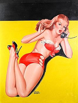 1949 - Pin-up en bikini rouge, surprise au téléphone, de Peter Driben.