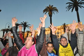 Des jeunes marocains manifestent contre l'augmentation du chômage, à Rabat le 12 janvier dernier. (Crédits photo: Abdelhak Senna)