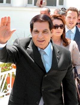 Ben Ali et Leïla Trabelsi avaient mis au pas la Tunisie et préparé l'avènement du gendre prodige Mohamed Sakhr el-Materi (ici, en arrière-plan). (Fethi Belaid/AFP)