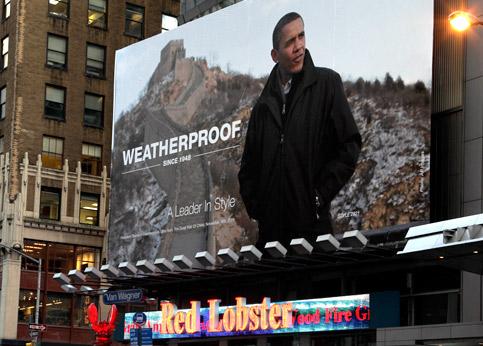 Début 2010, une société américaine a accroché une immense affiche représentant Barack Obama à Times Square, place emblématique de New York. 'Un style de leader', peut-on lire sur la publicité, réalisée sans l'accord du président américain. La Maison blanche a exigé, et obtenu, le retrait de l'affiche.