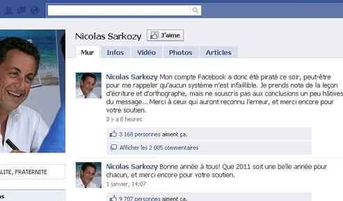 Capture d'écran de la page Facebook du chef de l'État, après le piratage de la page.