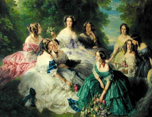 L' impératrice Eugénie entourée de ses Dames d'honneur. F.X.Winterhalter.(Musées du Palais impérial de Compiègne. M.Poirier)