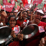 Manifestations contre l'inflation à New Delhi