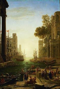 Lumière. Il est le premier à oser peindre le soleil en face. Claude Gellée, dit le Lorrain, car il est né dans les Vosges (1600-1682), nous embarque vers 1640 avec une sainte érémitique à partir d'un port imaginaire pour des lointains sans fin. Ampleur et rigueur. (Museo Nacional del Prado)