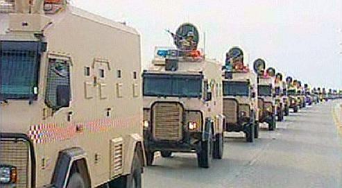 À la télévision bahreïnienne, lundi, les images de l'arrivée de troupes du Golfe franchissant le pont qui sépare l'Arabie saoudite de l'émirat.