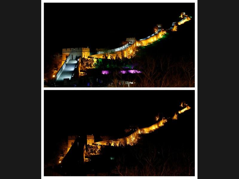 Les éclairages de la Muraille de Chine ont été partiellement éteints par les autorités. En Chine, 85 villes participent à cette cinquième édition, soit deux fois plus qu'en 2010.