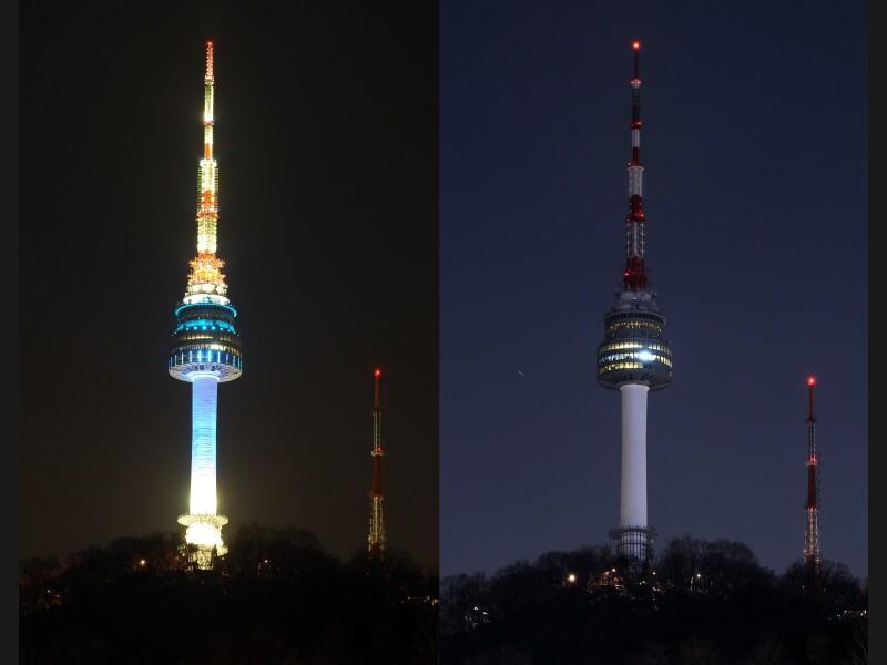 La Tour de Séoul (plus de 236 mètres), tour de télécommunication et haut-lieu du tourisme sud-coréen, s'est éteinte quelques instants. À Paris, la tour Eiffel sera aussi plongée dans l'obscurité samedi soir, comme plusieurs centaines de monuments à travers le pays.