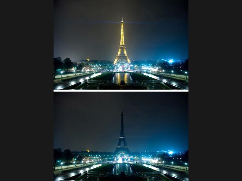 À Paris, la cathédrale Notre-Dame, l'hôtel de Ville, les opéras Garnier et Bastille, de nombreux ponts, fontaines et places de la capitale ont été plongés dans le noir samedi soir à 20h30 pendant une heure pour l'opération «Earth Hour», visant à sensibiliser aux problèmes du réchauffement climatique. La Tour Eiffel n'a été plongée dans l'obscurité que pendant 5 minutes pour des raisons de sécurité. Ce «mouvement de sursaut c'est pour se dire une fois dans l'année, et le vivre tout le reste de l'année, que la meilleure énergie, et en plus ça tombe bien c'est la moins chère, est celle qu'on ne consomme pas», a déclaré la ministre de l'Écologie Nathalie Kosciusko-Morizet.<br> <br>Des opposants à l'opération, réunis au sein du «Collectif contre l'obscurantisme», rassemblant différents mouvements libéraux, avaient appelé à une contre-manifestation baptisée «Six minutes pour les lumières» en éclairant à la torche les bâtiments «frappés par l'obscurité», estimant «qu'il est inutile d'éteindre les lumières pour réfléchir».