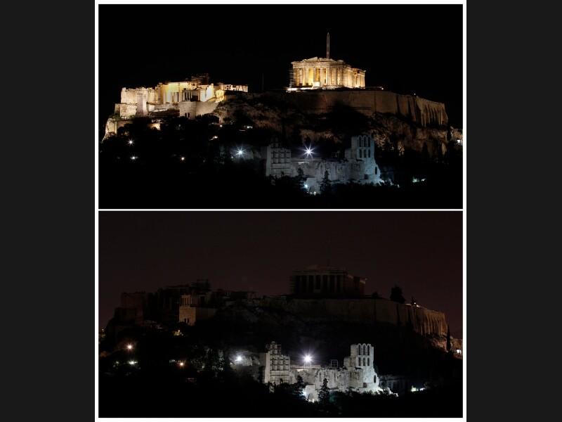 L'Acropole d'Athènes plongée dans le noir. La coupure d'une partie de l'électricité pendant 60 minutes dans plus de 4000 villes de 131 pays représente une économie d'énergie négligeable. Le geste est avant tout symbolique, explique le WWF.