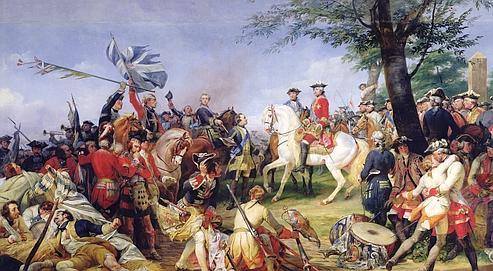 La bataille de Fontenoy, le 11 mai 1745 (1828),d'Horace Vernet. Victoirefrançaise etfaitd'armes le plus éclatant de la guerrede succession d'Autriche.