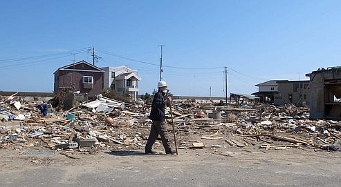Le village détruit d'Hisanohama, à 31 km de la centrale.