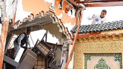 Le restaurant sur la place Jemaa el Fna ravagé par l'explosion.
