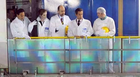 Nicolas Sarkozy, lundi, à la centrale nucléairede Gravelines.