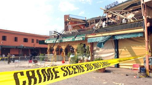 L'explosion avait soufflé la terrasse du café Argana, prisé par les touristes.