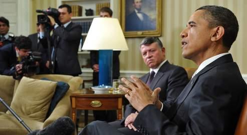 Barack Obama et le roi Abdallah II de Jordanie, mardi à Washington, après une rencontre bilatérale autour du conflit israélo-palestinien.