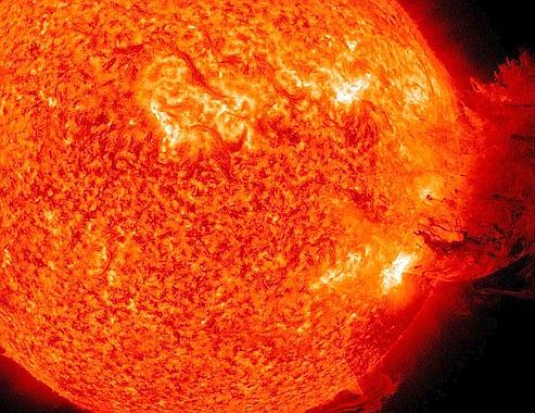 L'éruption solaire filmée mardi par l'un des laboratoires de la Nasa.