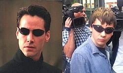 Neo, héros de Matrix à gauche et «Topiatry», à droite, dans un montage «tweeté» par les Anonymous.