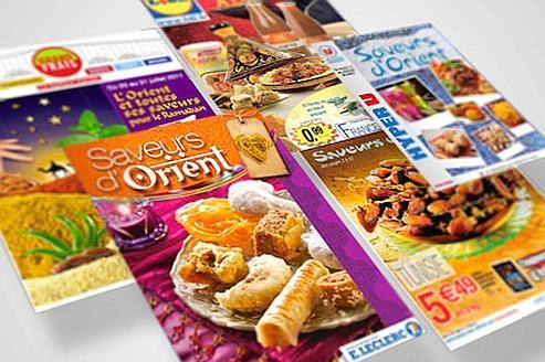 Les catalogues publicitaires des grandes enseignes alimentaires préfèrent évoquer l'Orient plutôt que le ramadan. Seuls Casino et Grand Frais font exception. Montage lefigaro.fr