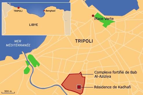 Les principaux points de la bataille de Tripoli.
