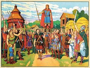 Elevé sur le pavois par ses soldats, comme le veut la coutume, Clovis est reconnu roi des Francs, à Tournai, en 481. Agé de 15 ans, il est alors maître de toute la Gaule. (Editions Hoebeke)