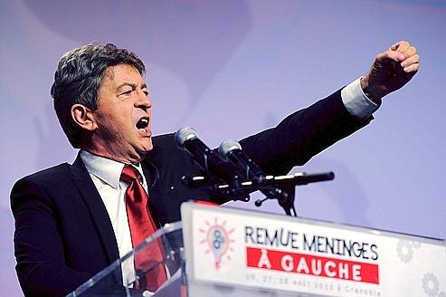 Jean-Luc Mélenchon, lors de la clôture, dimanche, de l'université d'été du Parti de Gauche, à Grenoble.