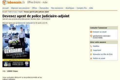 La gendarmerie nationale recrute sur LeBonCoin.fr