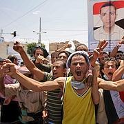 Des opposants à Saleh manifestent samedi à Sanaa, quelques heures après l'offensive visant la première division blindée.