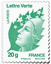 Un timbre vert 3centimes moins cher