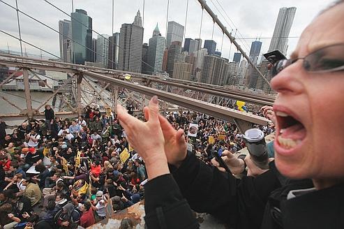 Samedi, sur le pont de Brooklin à New York.