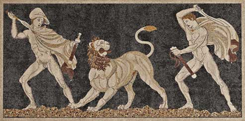 Mosaïque de la chasseau lion, galets enduits. (© Hellenic Ministry of Culture and Tourism / Archaeological Receipts Fund/Musée du Louvre)