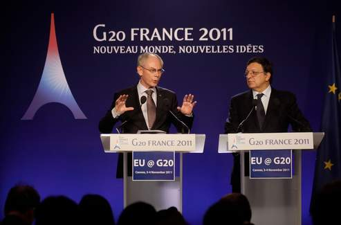 Herman Van Rompuy et José Manuel Barroso.