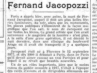 L'hommage du Figaro à Fernand Jacopozzi, lors du décès de l'ingénieur en 1932.