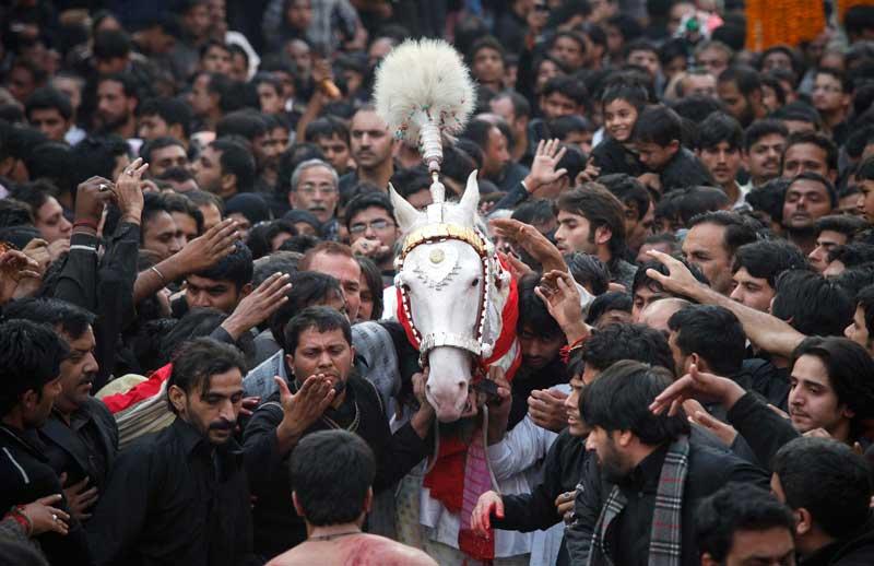 <b>Sacré</b>. Ils n'ont qu'un but : se frayer un chemin parmi la foule et gagner le droit de le toucher. Alors ils tentent leur chance et se faufilent comme ils le peuvent à travers l'une des places bondées de la ville de Lahore, au Pakistan, à l'occasion de la procession chiite célébrant la fête de l'Achoura. Le cheval y est symboliquement représenté, il rappelle celui l'Imam Hussein Zuljina, petit fils du Prophète. Et même si certains n'en peuvent plus, arriver à l'effleurer, ne serait-ce que du bout des doigts est pour eux porteur de chance. Du coup, personne ne lâche.