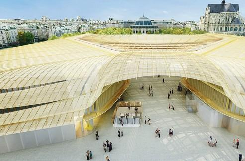 L'installation d'une canopée, édifice en verre aux formes courbes de plus de 14 mètres de haut, devrait marquer l'entrée du Forum des Halles. Crédits photo : P. Berger et J. Anziutti Architectes / L'Autre Image