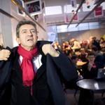 Jean-Luc Mélenchon dans son QG de campagne.