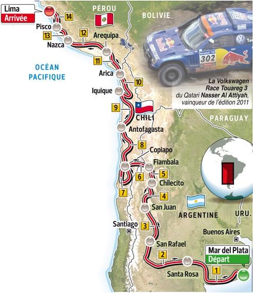 Le parcours de l'édition 2012 du Dakar.