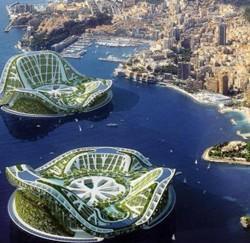 La Base Lilypad, de l'architecte Vincent Callebaut, une «écoville» lagunaire, insubmersible et autosuffisante, ici à Monaco. (Thomson Holidays)