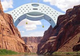 Le Colorado River Bridge Hotel, projet de l'architecte Michael Jantzen : nature, écologie et luxe extrême. (Michael Jantzen)