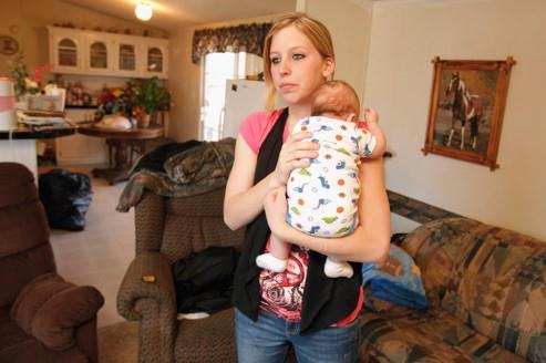 Sarah McKinley avec son fils Justin.