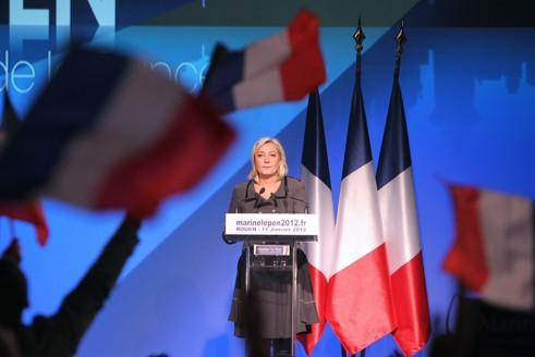 Marine Le Pen en meeting dimanche au Grand Quevilly.