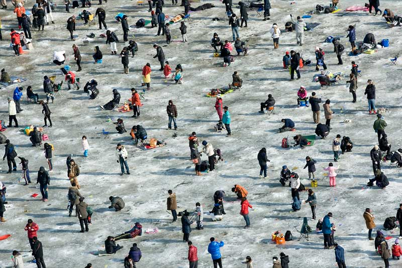 <b>Où est Charlie ?</b> Comme chaque année à la même période, dans le froid piquant de l'hiver coréen, le lac du canton de Hwacheon, dans la région du Gangwon, s'est recouvert d'une épaisse couche de glace et accueille l'un des festivals les plus populaires de l'hiver, sinon de l'année entière : celui de la truite des montagnes qui vit dans l'eau argentée du lac, la Sancheoneo. Depuis le 7 janvier, et pour trois semaines, la région s'est animée autour de cet événement qui draine des dizaines de milliers de visiteurs. Pêche à mains nues, ici en image, dégustations en tous genres, sculptures de glace, concours, animations... de la joie pour les grands et les petits !