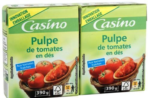 Premiers produits à changer de look: les pulpes et purées de tomates de la marque Casino. (Crédits photo: dr)
