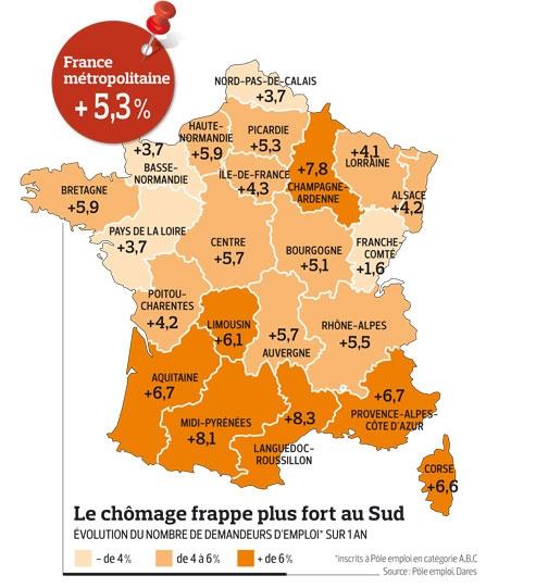 Evolution du nombre de demandeurs d'emploi dans les régions françaises sur un an