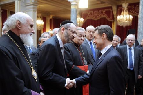 Nicolas Sarkozy lors de ses voeux aux autorités religieuses, mercredi.