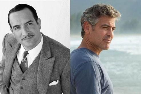Jean Dujardin dans The Artist et George Clooney dans The Descendants. (© Warner Bros. France & Twentieth Century Fox France)