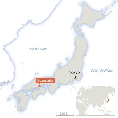 Kurashiki, dans la préfecture d'Okayama, se trouve à 550 kilomètres à l'ouest de Tokyo.